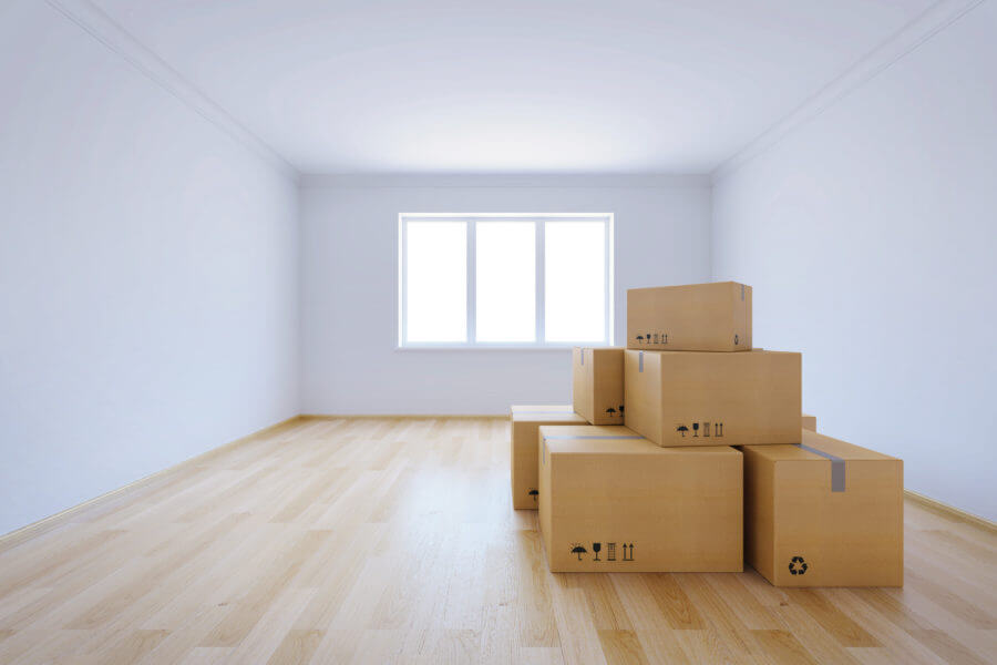 Room with boxes ready for long-distance moving
