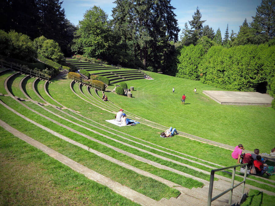 a view of some people hanging out at Washington Park in Portland